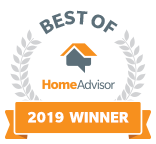A badge that certifies J&M Services was awarded Best of Home Advisor for 2019